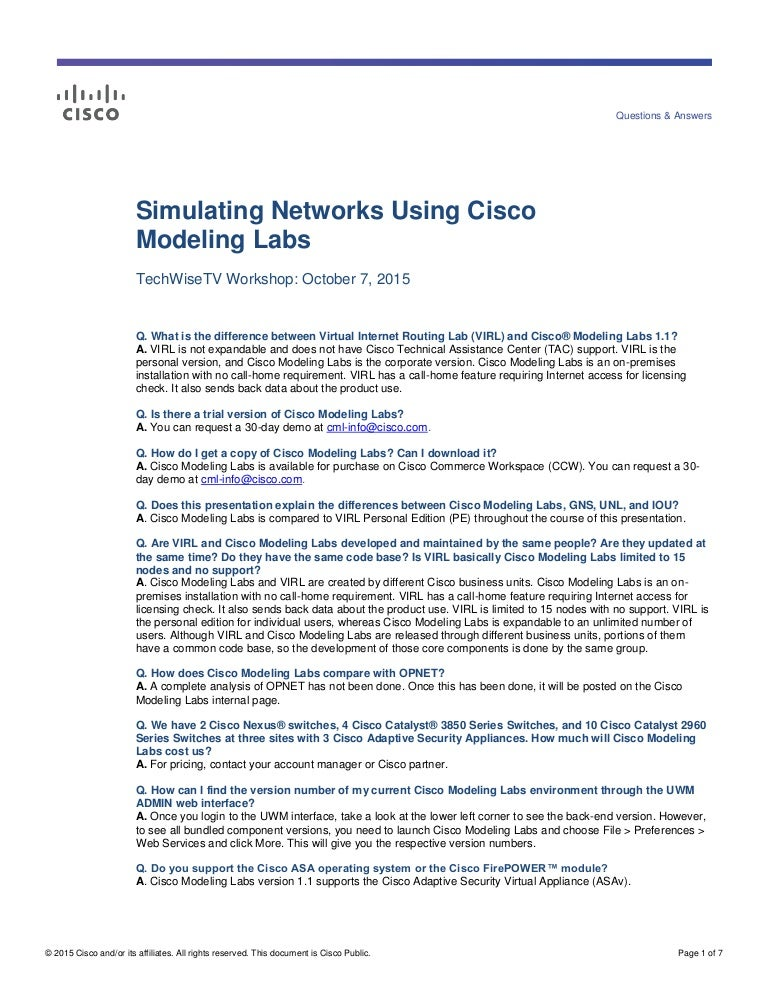 Q&A from Cisco Modeling Labs Workshop