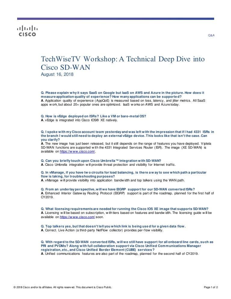 TechWiseTV Workshop: Q&A Cisco SD-WAN