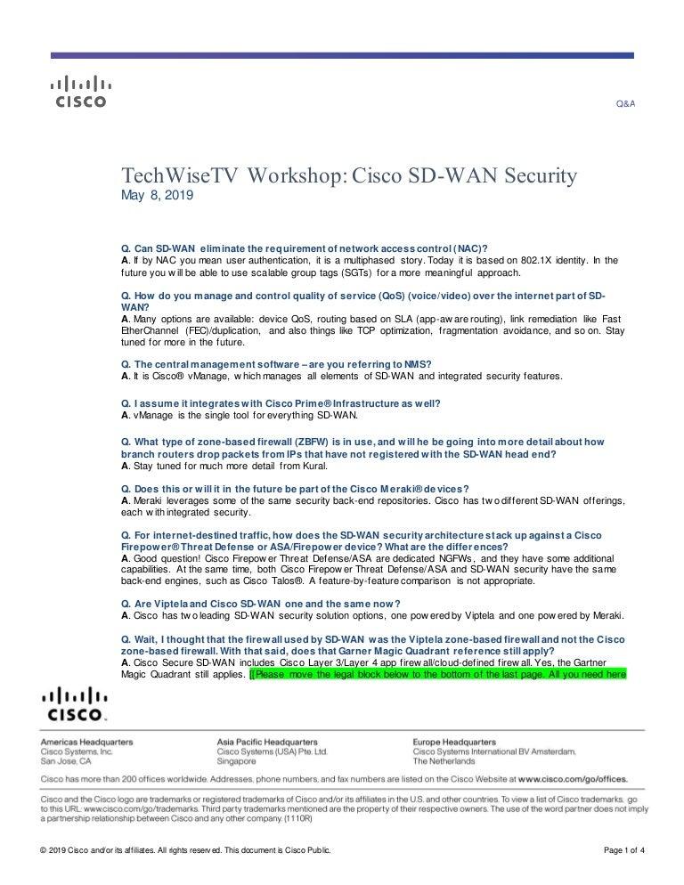 Techwisetv Workshop 314 Q A Cisco Sd Wan Security