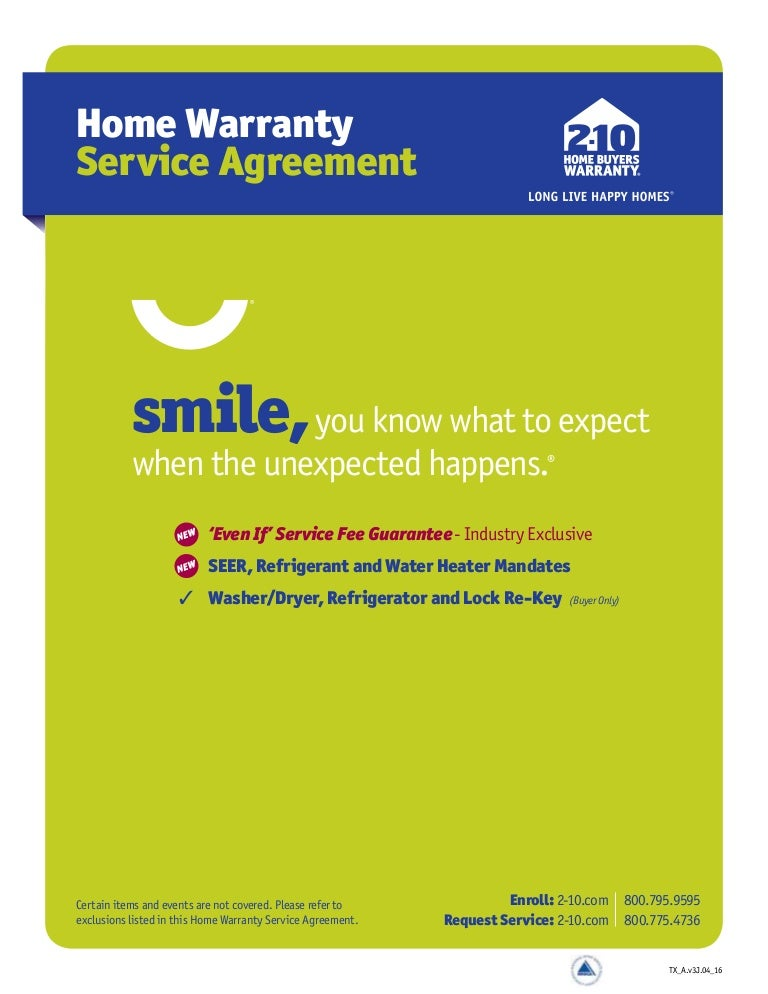 New Service Agreement 2 10 Home Buyers Warranty