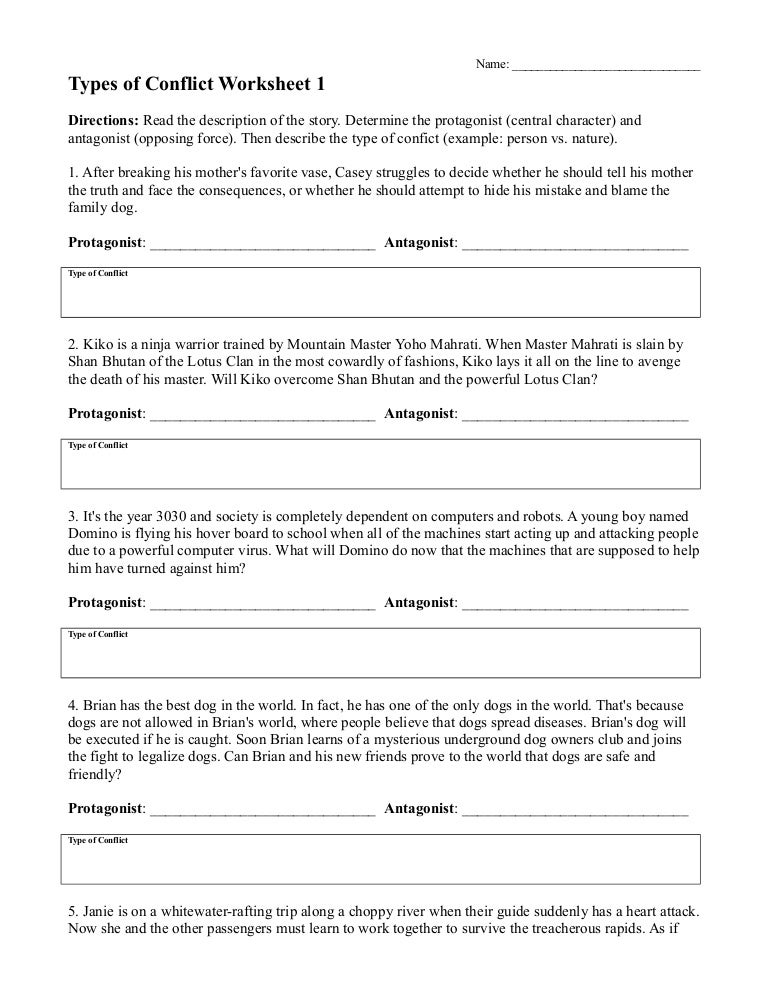 Types ofconflictworksheet1 – Conflict Worksheets