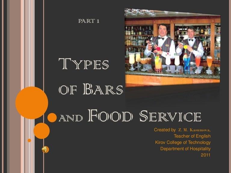 Types Of Bars U0026 Food Service