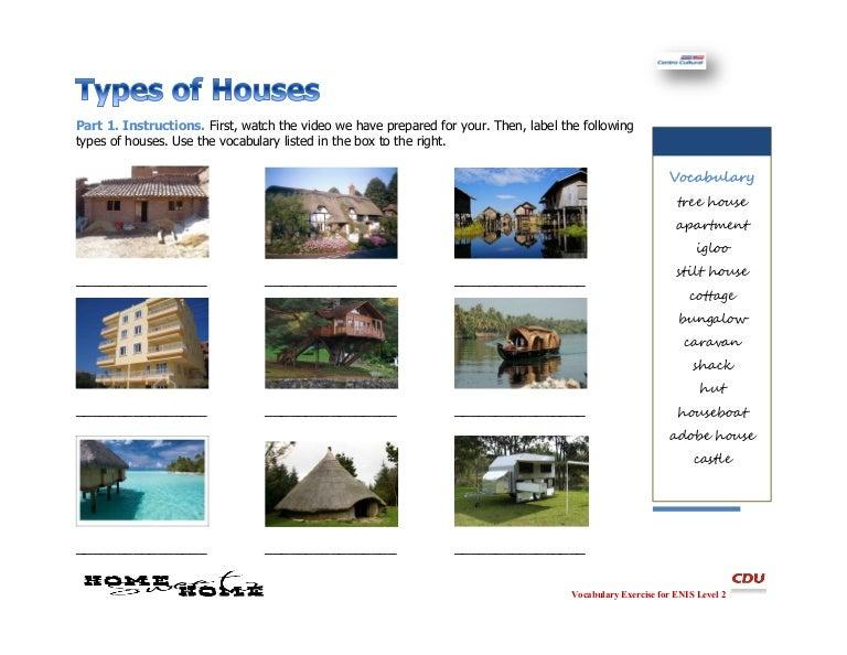 Types Of Homes Worksheet