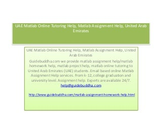 UAE Matlab Online Tutoring Help, Matlab Assignment Help, United Arab Emirates
