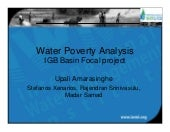 Water Poverty analysis in the Indo-Ganges BFP