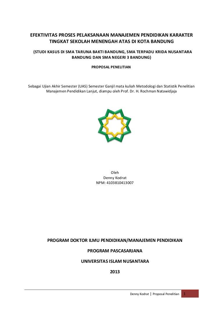 Proposal Efektivitas Pelaksanaan Manajemen Pendidikan Karakter Mixe