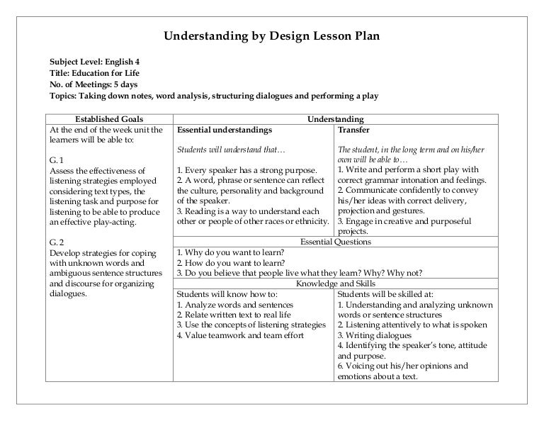 Understanding By Design Lesson Plan