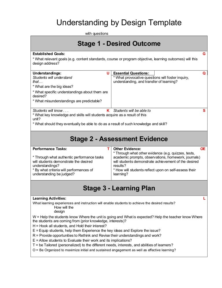 Ubd template 1 - Understanding by design lesson plan template ...