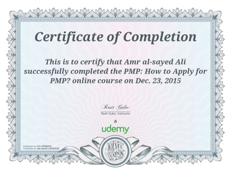 certificate udemy completion course financial pmp blank