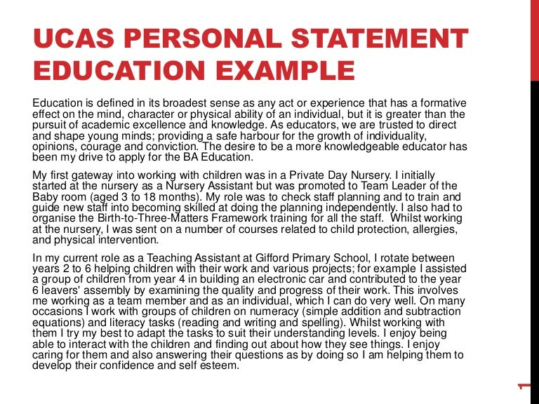 examples of personal statements for university