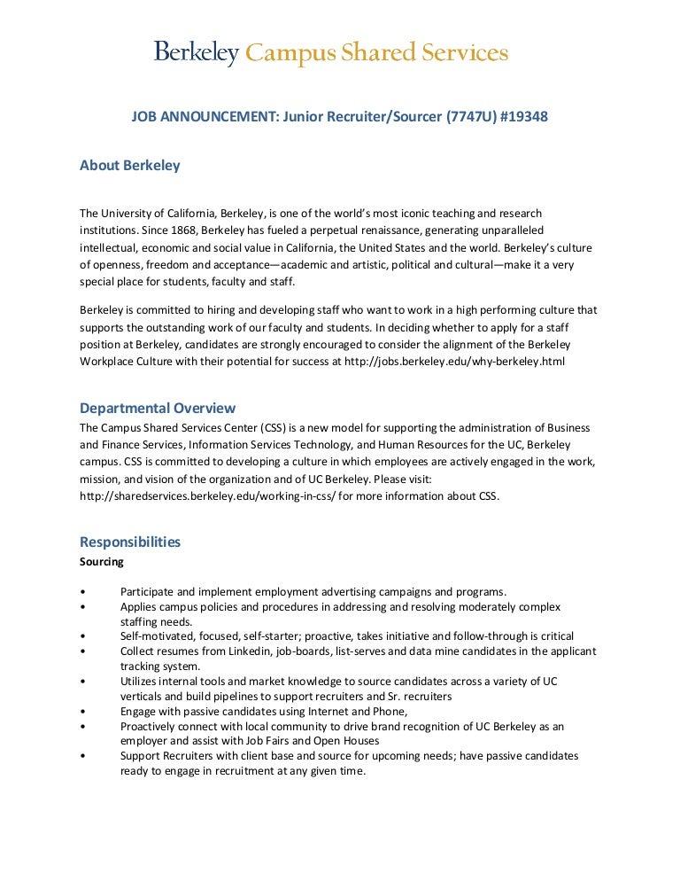 UC-Berkeley Junior Recruiter Sourcer