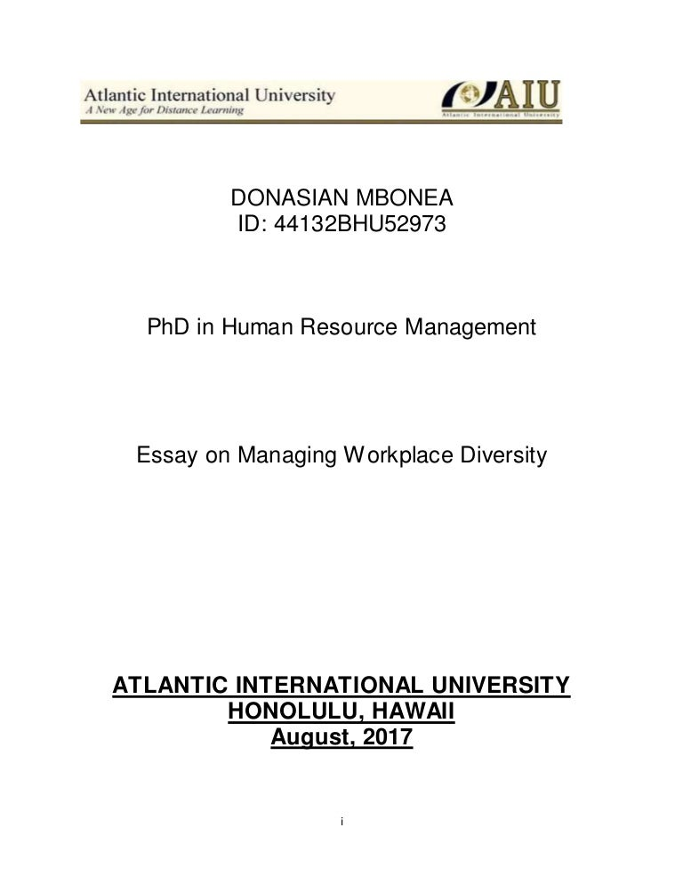 essay on diversity in the workplace aiu final