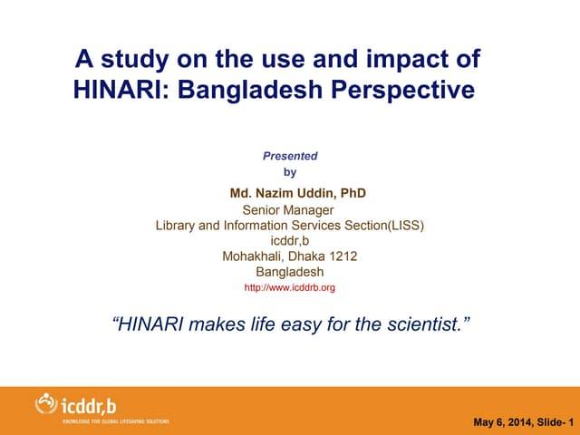 APLIC 2014 - HINARI experience in Bangladesh