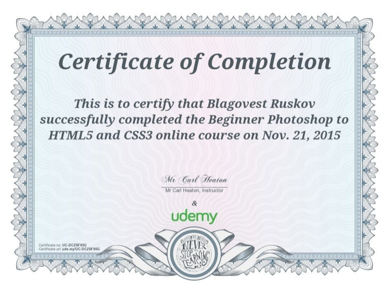 Udemy certificate photoshop html css