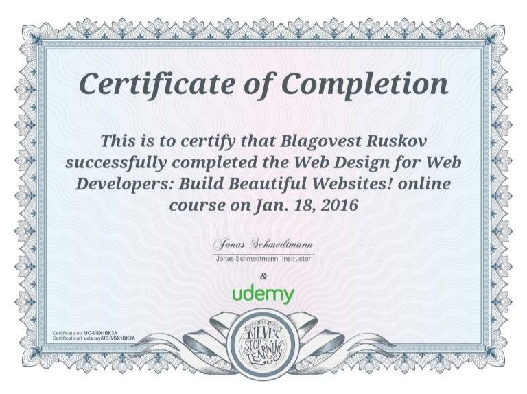 Udemy certificate-web design-for-web-developers