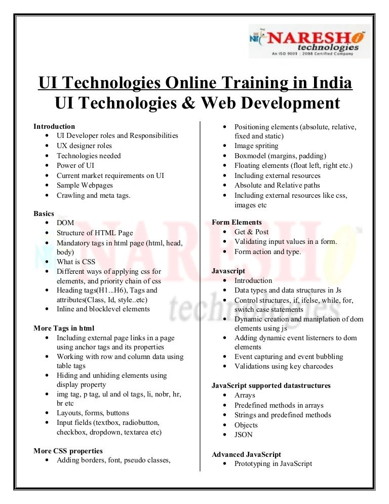 UI Technologies Online Training in India-by experts