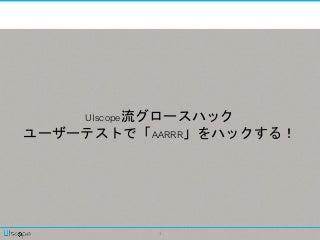UIscope流グロースハック~ユーザーテストで「AARRR」をハックする!~