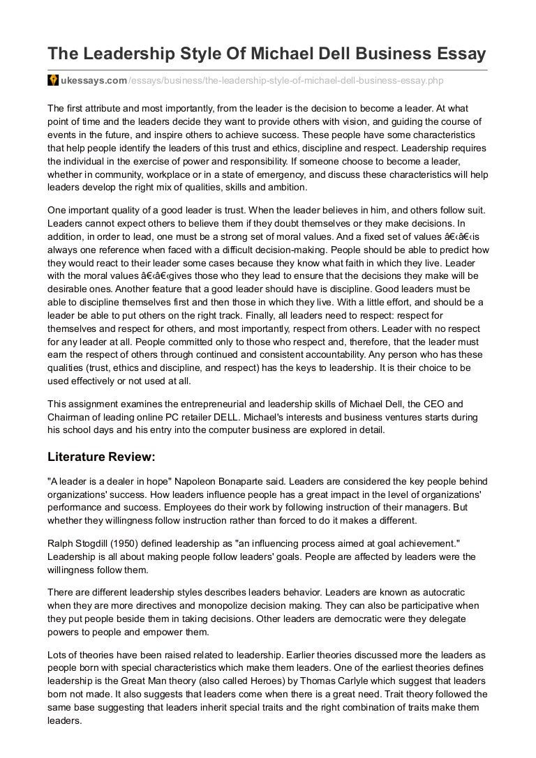 leadership assignment essay