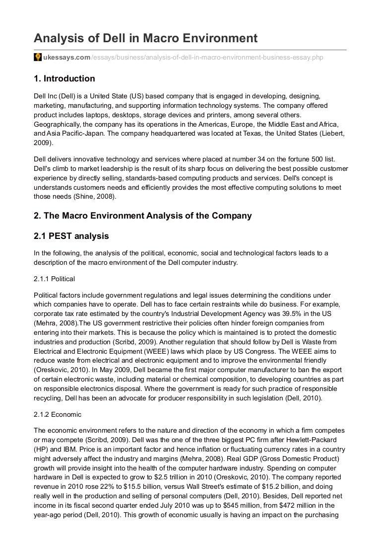 ukessays com analysis of dell in macro environment