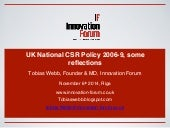 UK National CSR Policy 2006-9, Some Reflections
