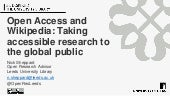 Open Access and  Wikipedia : Taking accessible research to the global public""