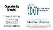 Ulf Ehlers: Opportunity knocks! Have your say in shaping EDEN2030 Conversation