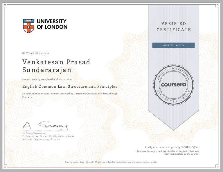 Univ  of London - English Common Law Certificate - VPS 2014
