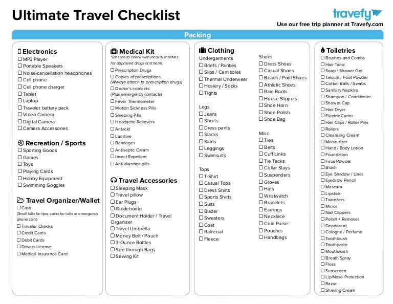 Ultimate Travel Planning  Packing Checklist