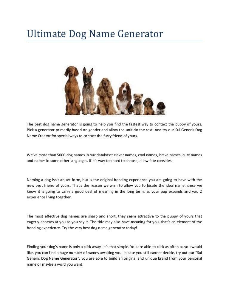 Ultimate dog name generator