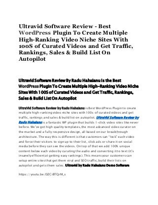 Ultravid Software Review - Best WordPress Plugin To Create Multiple High-Ranking Video Niche Sites With 100S of Curated Videos and Get Traffic, Rankings, Sales & Build List On Autopilot