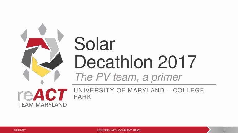 umd solar decathlon 2017 pv team, Presentation templates