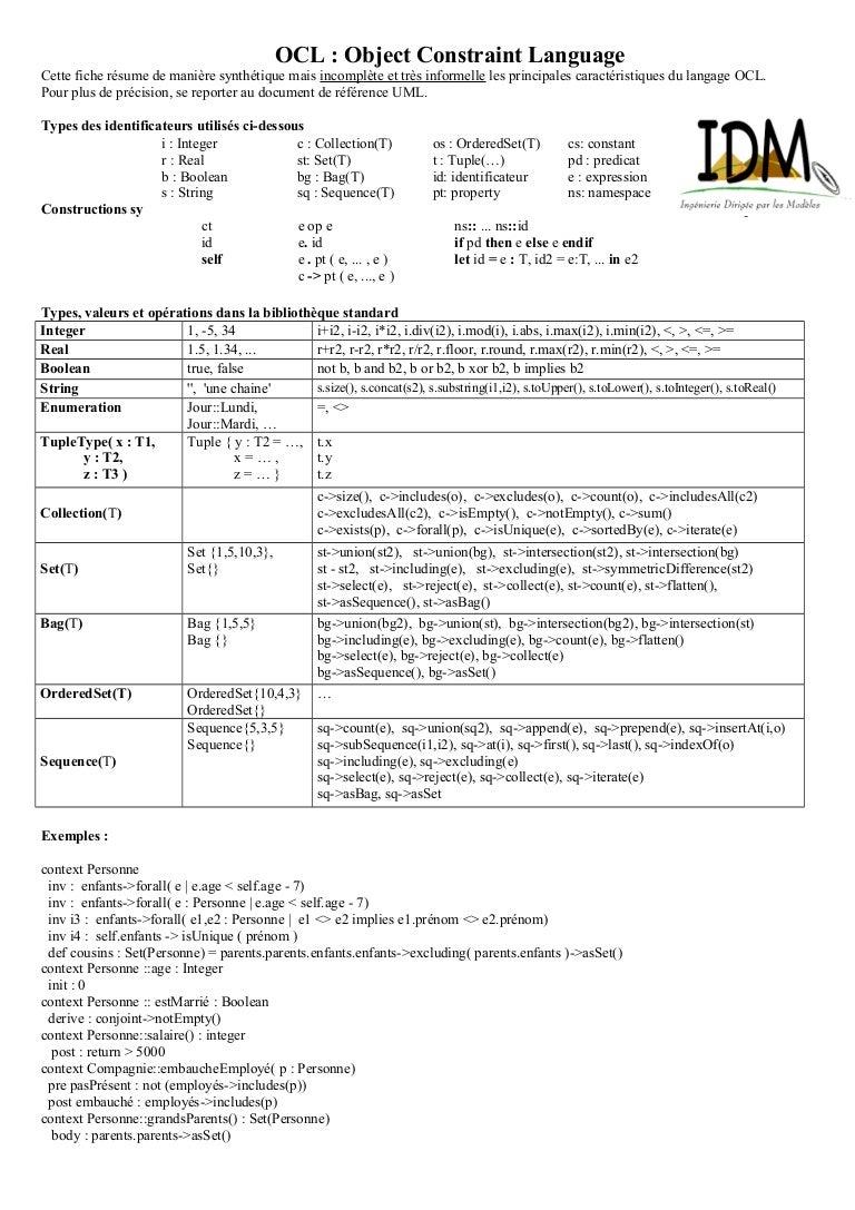 UML OCL   Cheat Sheet - 10 0e61de43a61e2