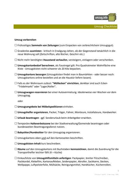 Umzugsorganisation Checkliste umzug checkliste info