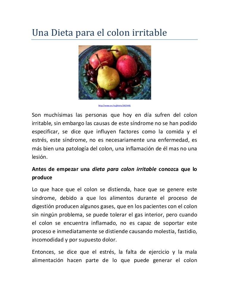 Dieta para personas con colon irritable