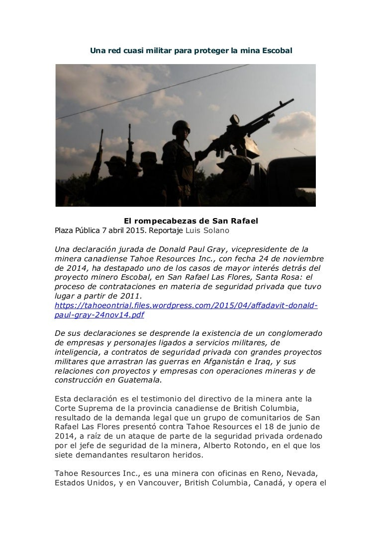 Una red cuasi militar para proteger la mina Escobal