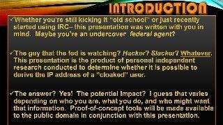 Uncloaking IP Addresses on IRC