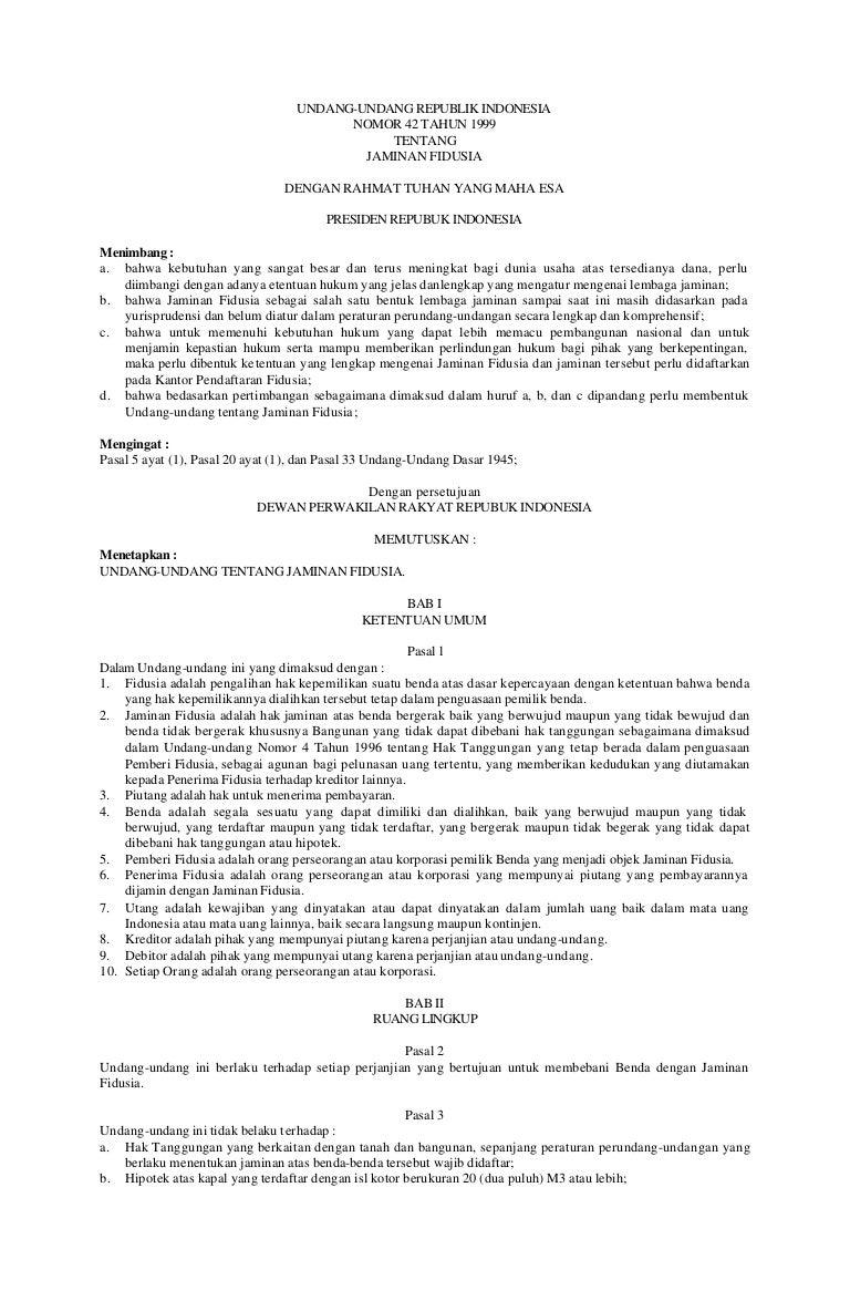 undang undang fiducia no 42 tahun 1999