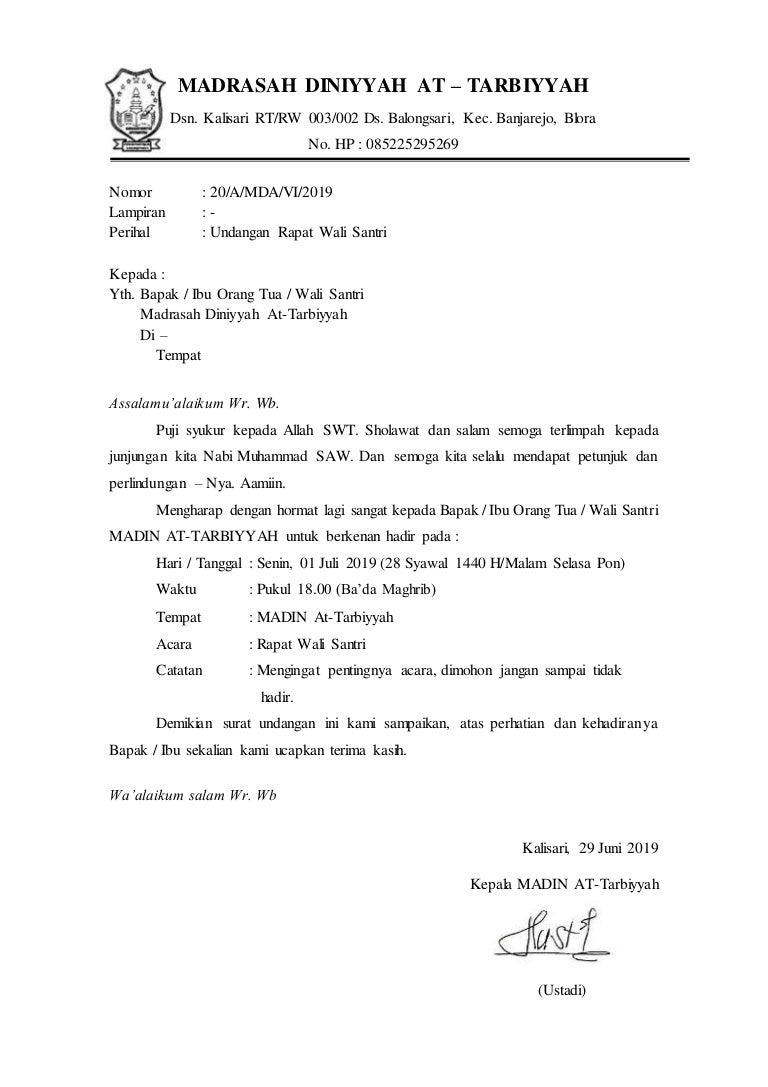 Contoh Surat Undangan Rapat Orang Tua Santri - Sample ...