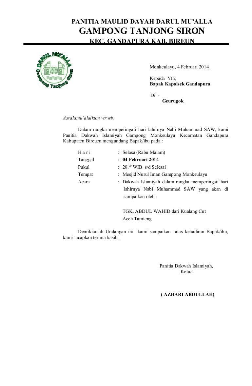 Undangan Maulid Panitia Maulid Dayah Darul Mu