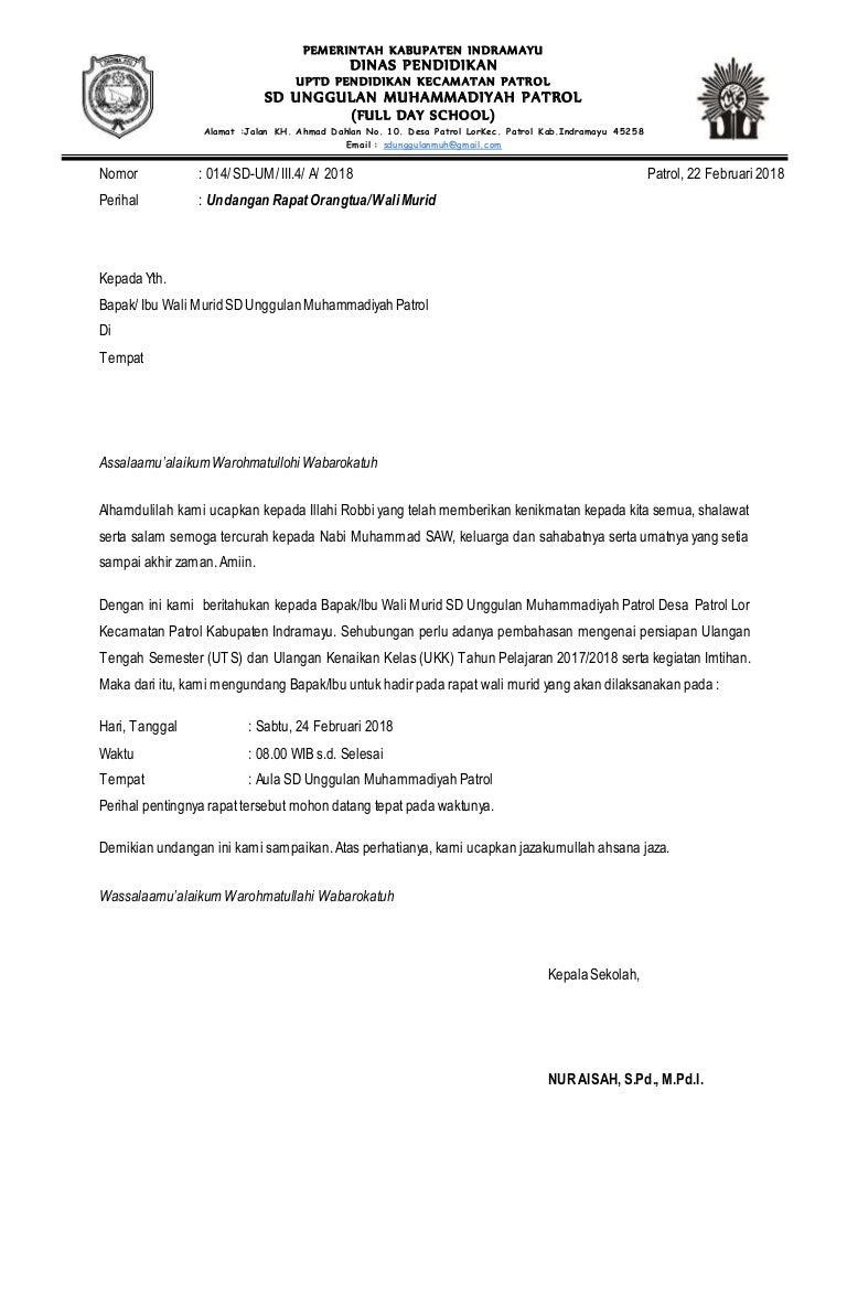 Contoh Surat Undangan Rapat Orang Tua Siswa Doc - Sample ...