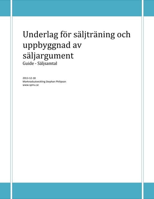 Underlag för säljträning och uppbyggnad av säljargument