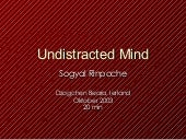 Undistracted mind, teaching Sogyal Rinpoche