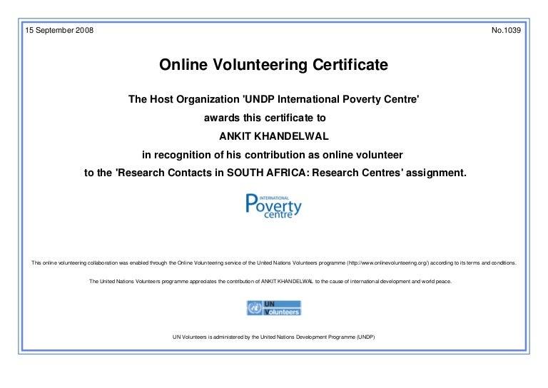 United nations online volunteering certificate yelopaper Choice Image