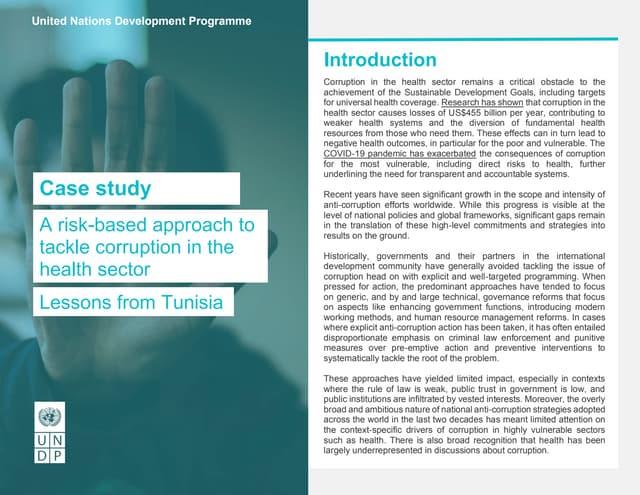 Case study-Risk-based Anti-corruption in the Health sector in Tunisia
