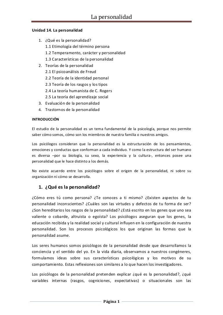 Unidad 14. la personalidad