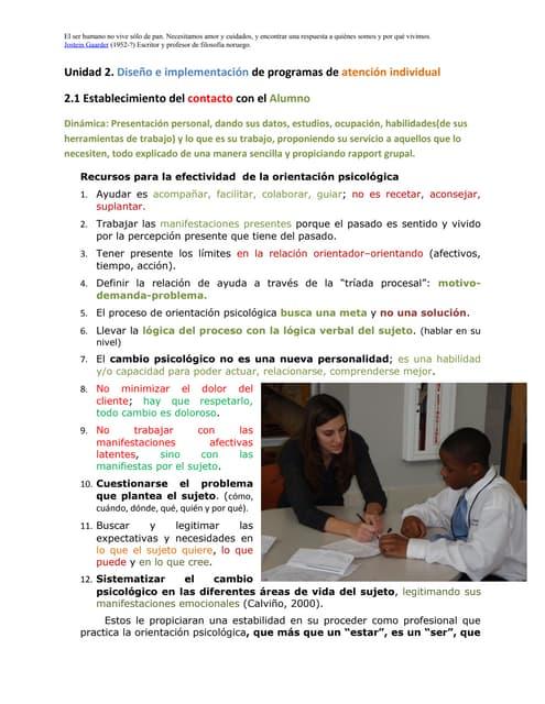 diseño e implementacion de programas de atencion individual