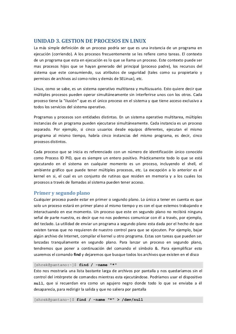 Unidad 3 gestion de procesos en linux