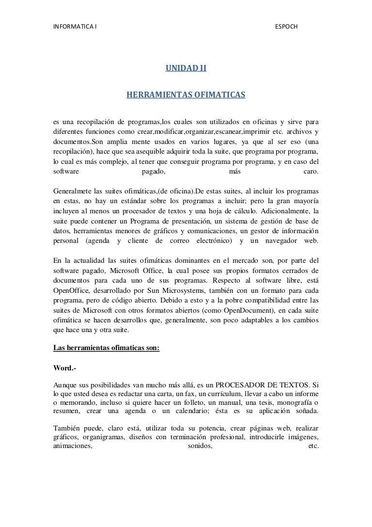 Unidad ii INFORMATICA 1 ESPOCH ELIZABETH SEGOVIA