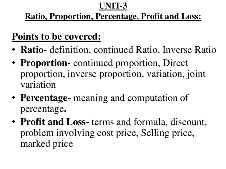 Unit 3 Ratio Proportion Profit And Loss
