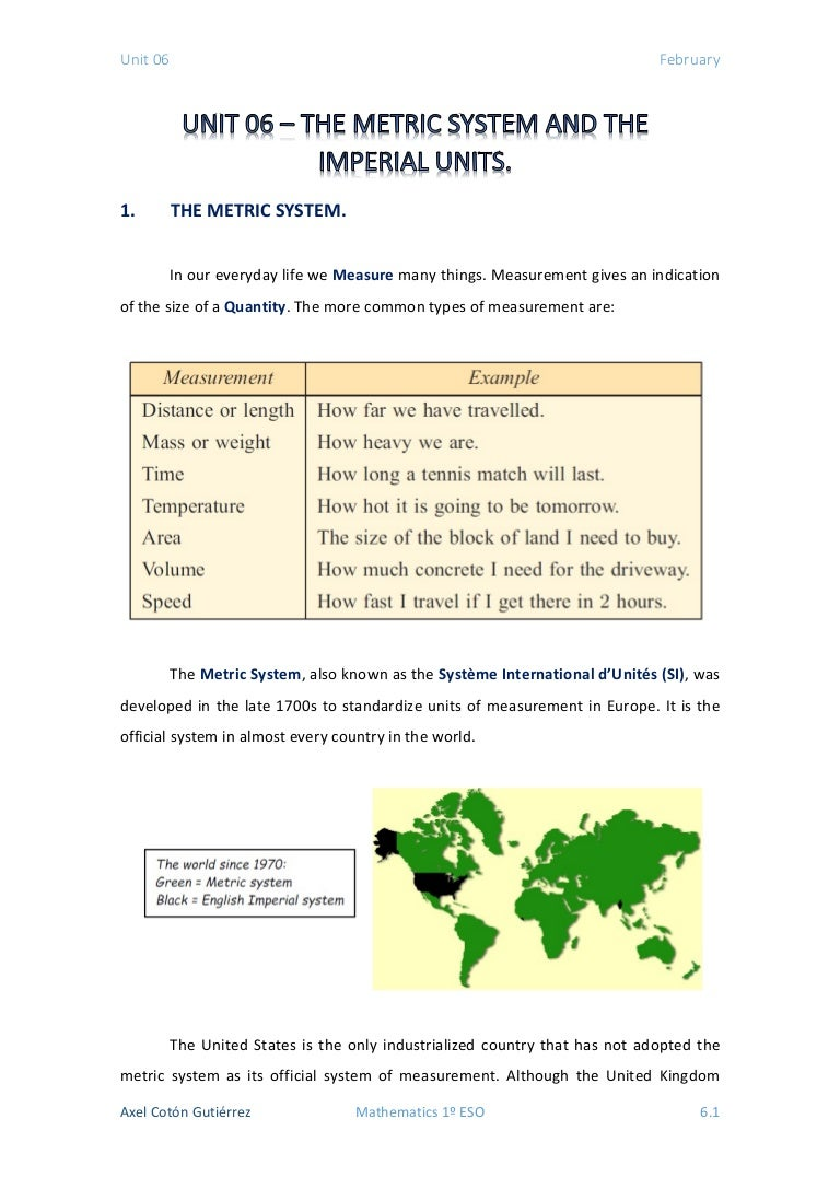 1 eso - unit 06 - the metric system and the imperial units